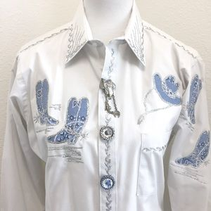NWT Vintage glitter and glam cowboy western blouse
